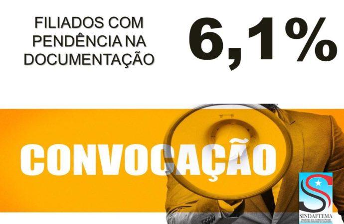 CONVOCAÇÃO. FILIADOS COM PENDÊNCIA DE DOCUMENTAÇÃO NO PROCESSO DOS 6,1%.